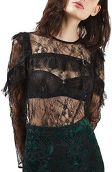 Topshop Women's Long Sleeve Lace Top