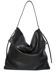 Rick Owens Leather Hobo Bag Black