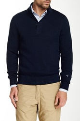 Relwen Ribbed Mock Henley Sweater Blue