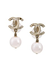 Chanel Vintage Pearl Logo Earrings White