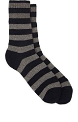Barneys New York Men's Striped Stockinette Stitched Mid Calf Socks Grey Navy Grey Navy