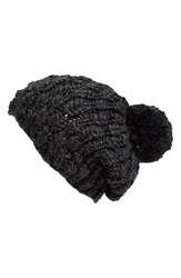 Women's Collection Xiix 'Roving Yarn' Slouchy Beanie Black Black Paint