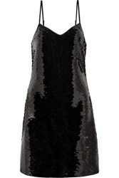 Michael Michael Kors Paillette Embellished Jersey Mini Dress Black