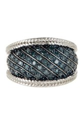 Savvy Cie Pave Blue Diamond Ring 0.65 Ctw