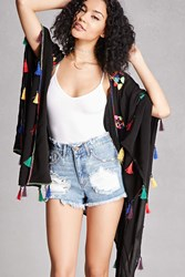 Forever 21 Embroidered Tassel Shawl Black