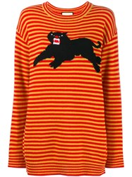 Gucci Striped Panther Jumper Yellow And Orange