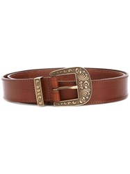 Alberta Ferretti Embossed Buckle Belt Women Calf Leather L Brown