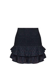 Etoile Isabel Marant Malfos Polka Dot Print Ruffled Cotton Skirt Navy Multi