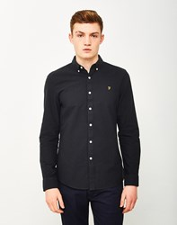Farah Brewer Long Sleeve Oxford Shirt Black