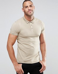 Asos Muscle Polo Shirt In Beige Chinchilla