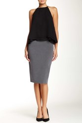 Amanda And Chelsea Signature Belted Pencil Skirt Gray