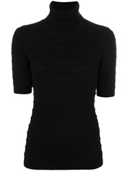 Steffen Schraut Short Sleeve Roll Neck Jumper Women Nylon Polyester Viscose Cashmere 34 Black