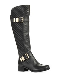 Vince Camuto Faris Quilted Riding Boots Black Leather