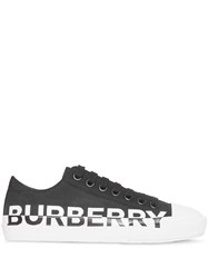 Burberry Logo Print Two Tone Cotton Gabardine Sneakers Black