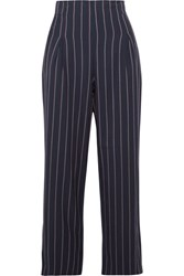 Ganni Oakwood Cropped Pinstriped Stretch Crepe Wide Leg Pants Midnight Blue