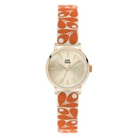 Orla Kiely Women's Plant Print Strap Leather Strap Watch Orange Cream