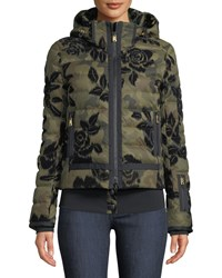 Bogner Fire And Ice Muriel Camo Floral Print Jacket W Removable Hood Olive