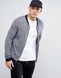 Asos Knitted Bomber Jacket With Contrast Design In Navy Navy