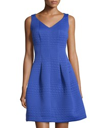 Taylor Circle Jacquard Sleeveless Fit And Flare Dress Cornflower