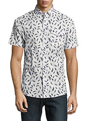 Report Collection Feather Print Cotton Shirt White