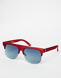 Asos Chunky Clubmaster Sunglasses Burgundy