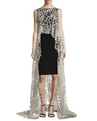 Monique Lhuillier Metallic Lace Evening Tunic Women's