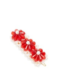 Shrimps Floral Bead And Faux Pearl Embellished Hair Clip Red