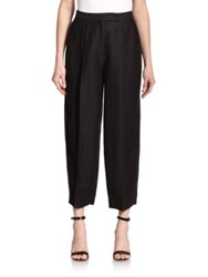 Milly Cropped Pleated Pants Black