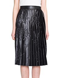 Msgm Pleated Printed Faux Leather Midi Skirt Black