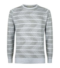 John Smedley Roose Zig Zag Cotton Sweater Male Grey