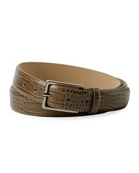 Armani Collezioni Snakeskin Embossed Leather Belt Brown