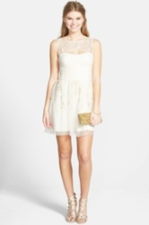 Hailey Logan Illusion Embroidered Mesh Party Dress Juniors White