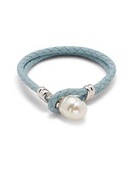 Majorica 14Mm X 18Mm Baroque Organic Man Made Pearl And Leather Bracelet White