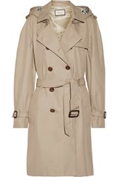 Gucci Silk Faille Trimmed Cotton Blend Gabardine Trench Coat Sand