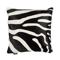 Amara Zebra Print Cowhide Cushion 45X45cm Black White