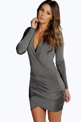 Boohoo Slinky Drape Front Sleeve Bodycon Dress Grey