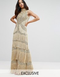 A Star Is Born Embellished High Neck Maxi Dress With Fringe Gold
