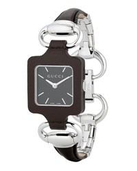 Gucci 1921 Stainless Steel And Leather Bracelet Watch Brown