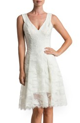 Dress The Population Women's Maya Woven Fit And Flare Ivory