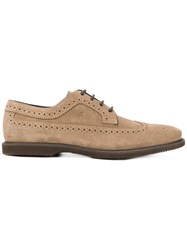 Hogan Suede Oxford Shoes Nude Neutrals