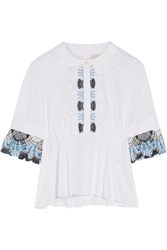 Peter Pilotto Lace Trimmed Stretch Cotton Blend Poplin Peplum Top White