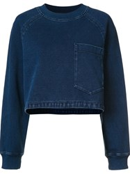 Ag Jeans Cropped Denim Effect Sweater Blue