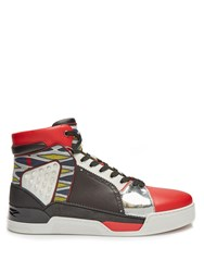 Christian Louboutin Loubikick High Top Leather Trainers Black Multi