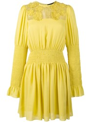 Elie Saab Floral Lace Panel Dress Yellow Orange