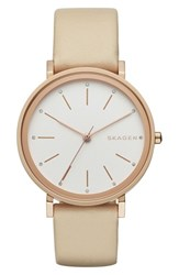 Skagen Women's 'Hald' Round Leather Strap Watch 34Mm