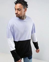 Asos Oversized Long Sleeve T Shirt With Wide Sleeve And Panelling Reflection Purple