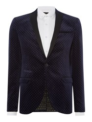 Label Lab Jazz Printed Velvet Pin Dot Blazer Navy