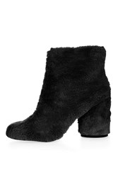 Topshop Hairy Harry Fur Ankle Boots Black