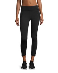 Michi Medusa Stripe Crop Performance Legging Black
