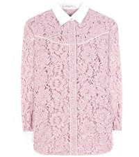 Valentino Lace Cotton Blend Blouse Pink